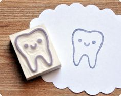 Cute tooth hand carved rubber stamp. $10.00 USD, via Etsy.