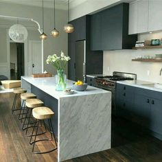 Love the idea of harsh, dark cabinetry paired with a beautiful white marble benchtop. : Love the idea of harsh, dark cabinetry paired with a beautiful white marble benchtop. Farmhouse Style Kitchen, Home Decor Kitchen, Kitchen Interior, New Kitchen, Home Kitchens, Kitchen Dining, Kitchen Island, Kitchen Ideas, Awesome Kitchen