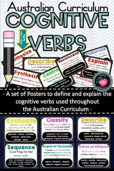 Cognitive Verb Posters based on Australian Curriculum Achievement Standards. - These posters have been designed based on The Australian curriculum achievement standards to explai - Persuasive Writing, Paragraph Writing, Opinion Writing, Writing Rubrics, Art Rubric, Narrative Writing, Primary Teaching, Teaching Resources, Teaching Grammar