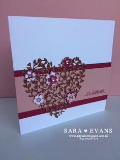 Sara Evans Stampin' Up! Wedding Anniversary Cards, Wedding Cards, Happy Anniversary, Sara Evans, Valentine Love Cards, Stamping Up Cards, Marianne Design, Heart Cards, Birthday Cards