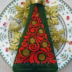 Machine Embroidery Design Red Christmas Tree  3 by RoyalPresentEmb