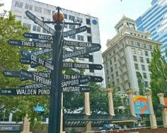 The signpost in downtown's Pioneer Courthouse Square offers perspective on Portland's location.
