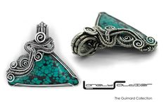 Turquoise and Sterling Silver Wire wrapped Lonely Soldier Designs Pendant