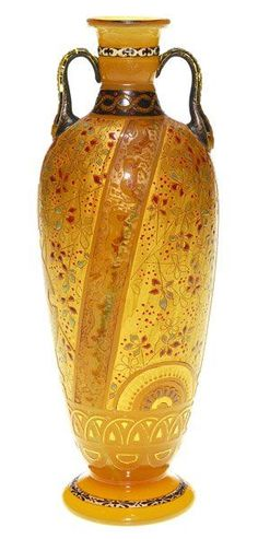Burgun, Schverer & Cie. internally decorated, wheel-carved and partially-gilt glass vase.