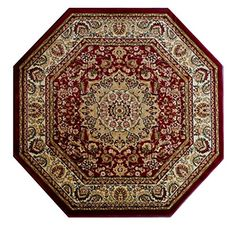 Traditional Area Rug Design Bellagio 401 Burgundy 5 Feet 3 Inch X 5 Feet 3 Inch Octagon *** Be sure to check out this awesome product.