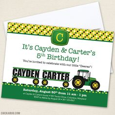 John Deere tractor party invitation for TWINS! #tractorparty #johndeereparty #twins #twinbirthday