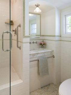 towel bar...Traditional Bathroom White Tile Bath Design, Pictures, Remodel, Decor and Ideas - page 10