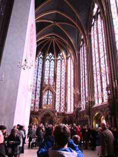 Paris, France - inside Sainte-Chapelle 1248, it's 55 feet wide and 65 feet tall.