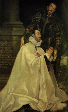"""El Greco ( """" Julian Romero y su santo patrono"""" The Prado Museum. Spanish Painters, Spanish Artists, Classic Paintings, European Paintings, Greek Paintings, Heraklion, Renaissance Kunst, Art Database, Caravaggio"""