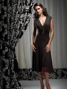 Sheath/Column Tea-length V-neck Chiffon Bridesmaid Dress With Beaded at Msdressy