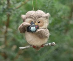 Needle Felted Owl Ornament Holding Camera by scratchcraft on Etsy