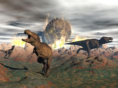 An illustration of Tyrannosaurus rex trying to escape the fire and heat from a meteorite crash.
