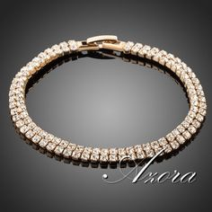 18K Real Gold Plated Full Stellux Austrian Crystal Bracelet FREE SHIPPING!(Azora TS0017)