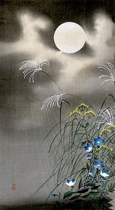 Ohara Koson, Moon and Blue Flowers on ArtStack #ohara-koson #art