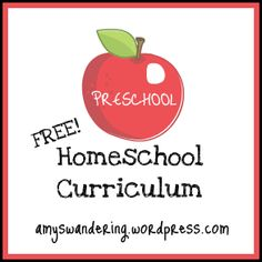 Free preschool homeschool curriculum