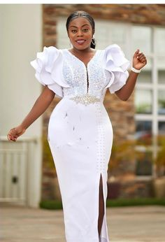 African Lace Dresses, Latest African Fashion Dresses, African Dresses For Women, Latest Ankara Gown, Ankara Gowns, White Dress Outfit, Dress Outfits, Shweshwe Dresses, African Traditional Wedding