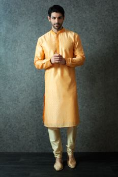 Cotton silk kurta churidar embellished with DORI work from #Benzer #Benzerworld #menswear #indowesternwearformen #ethnicwear