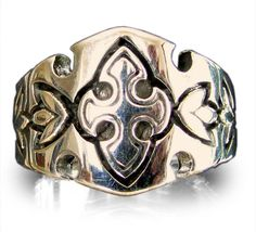 Medieval Knights Templar Ring Celtic Crest Design in Bronze