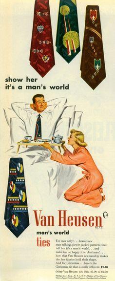 Vintage, vintage ad, vintage advertisement, nostalgia, color, Van Heusen neck tie