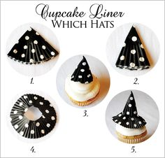 witch hat cupcakes, take regular size liner fold in half, fold in half again-place onto cupcake with toothpick. take mini cupcake holder cut top out for brim slip over cone on cake.