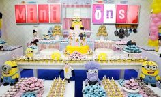 ideias para festa de minions para meninas - Pesquisa Google