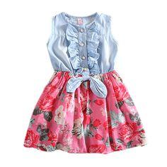 $5.60 (Buy here: https://alitems.com/g/1e8d114494ebda23ff8b16525dc3e8/?i=5&ulp=https%3A%2F%2Fwww.aliexpress.com%2Fitem%2FLOWEST-PRICELovely-HotKid-Girls-Jean-Denim-Skirts-Bow-Flower-Ruffled-Dress-Sundress-Clothing-Costume%2F2038890735.html ) Baby girl denim dress 2016 children sleeveless christmas girls dresses summer style kids princess flower dress for just $5.60