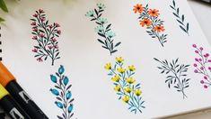 Easy Flower Drawings, Flower Art Drawing, Floral Drawing, Easy Drawings, Flower Paintings, Floral Doodle, Doodle Flowers, Flower Doodles, Tombow Brush Pen