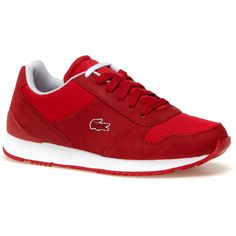 0512aef0ac1 Red Women s Lacoste Live Trajets Bicolor Trainers (£70) ❤ liked on Polyvore  featuring shoes