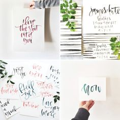 watercolor calligraphy // workshops (A Fabulous Fete) - Design & Lettering - Calligraphy Lessons, How To Write Calligraphy, Calligraphy Letters, Typography Letters, Watercolor Lettering, Watercolor Design, Brush Lettering, Floral Watercolor, Types Of Lettering