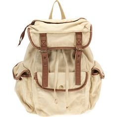 Ecote Canvas Rucksack ($49) ❤ liked on Polyvore featuring bags, backpacks, accessories, purses, women, womens bags, strap backpack, brown bag, pocket bag and brown canvas backpack