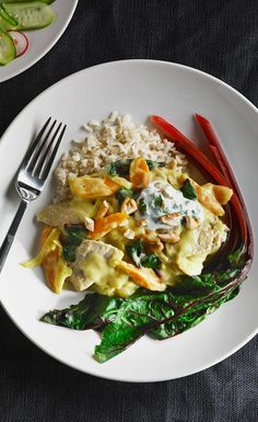 #NutritionMonth - Tender pork and a variety of vegetables are accented with ginger and curry in a luscious sauce made with the goodness of milk. The yogurt topping adds a fresh touch that turns this quick sauté into something special. Serve over brown basmati or long-grain rice, or brown rice noodles with a fresh cucumber salad on the side.