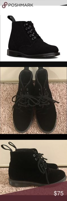 Dr. Martens Lana Velvet Boot Like new pair of Dr. Martens velvet Lana Boots. Very few imperfections. US 6, UK 4, EU 37. These boots are soft and require ZERO break in! Perfect for 6.5 - 7. Dr. Martens Shoes Lace Up Boots