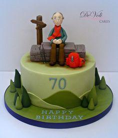 Walker cake Fondant Cakes, Cupcake Cakes, Nature Cake, Mountain Cake, 70th Birthday Cake, Cake Models, Dad Cake, Retirement Cakes, Garden Cakes
