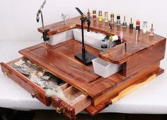 Fly Tying Bench/ Desk Handmade Rustic Cedar door FlyTyingEssentials
