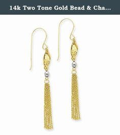 14k Two Tone Gold Bead & Chain Dangle Earrings. These beautiful earrings are sure to be the perfect addition to your own collection or as a gift to someone special. They come with Allure Jewelers 5 Star Satisfaction Guarantee. Allure Jewelers has an extensive assortment of jewelry, please feel free to browse through our other collections. Metal : Multi-Tone Gold Metal Purity : 14k (Solid, Unplated) Actual Length : 56.75 mm Actual Width : 4.5 mm Actual Length : 2.23 in Actual Width : 0.18…