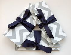 Bridesmaids Clutches in Gray Chevron Stripe and Navy by ao3designs,