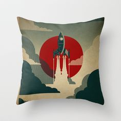 So, to explain: Society6.com is the newest member of the Demand Media family, and I was checking out the various art prints, cards, iPhone cases, and whatnot offered here. I ran across this very cool retro-themed spaceship throw pillow. I will be ordering this...