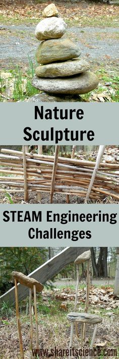 Nature Sculpture Engineering Challenges for Kids! No extra supplies needed to tackle the engineering process in this STEAM activity. Get outdoors and get creative!