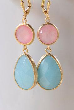 Coral Pink and Amazonite Blue Teardrop Dangle Jewel