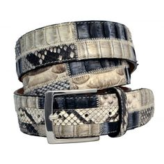 Genuine Python skin snake sewn belt patchwork Nabuk lining Satin finish solid brass buckle Entirely handmade in Italy Easy to short Width: 4 cm Signature dust bag included