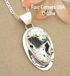 Four Corners USA Online - White Buffalo Turquoise Pendant Necklace Navajo Artisan Phillip Sanchez Native American Silver Jewelry NAP-1447, $189.00 (http://stores.fourcornersusaonline.com/white-buffalo-turquoise-pendant-necklace-navajo-artisan-phillip-sanchez-native-american-silver-jewelry-nap-1447/)
