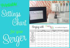 Free Printable Chart for Serger Settings
