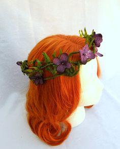 Woodland fairy Crown, Moss and Hydrangea Circlet, Purple Hydrangea Blossom and Moss Vine Crown. $35.00, via Etsy.