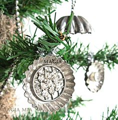 Rhinestone Button Tart Tin Ornaments