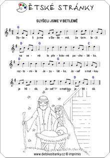 Slyšeli jsme v Betlémě Sheet Music, Words, Advent, Relax, Music Sheets, Horse