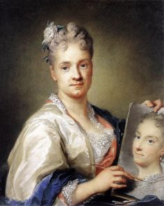 """Rosalba Carriera """"Self Portrait Holding a Picture of her Sister"""" 1715 Uffizi Gallery Emily Carr, Self Portrait Drawing, Portrait Art, Louise Bourgeois, Joan Mitchell, Portraits Pastel, Women Artist, Web Gallery Of Art, Female Painters"""