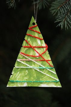 wool wrapped tree ornaments - happy hooligans wool and cardboard trees