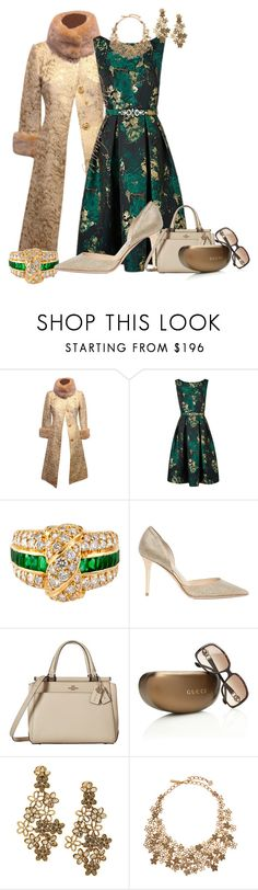 """Brocade for Autumn"" by momfor2girls on Polyvore featuring Dolce&Gabbana, Mauboussin, Jimmy Choo, Coach, Gucci and Oscar de la Renta"