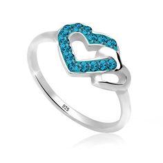 """Wunderschöner funkelnder Ring aus feinem 925er Sterlingsilber mit zwei Herzen, eines besetzt mit 15 Kristallen von Swarovski in INDICOLITE, einem dunklen Türkis-Blau.  Weitere Hilfe zur Ringgröße:  Angegebene Größe in mm entspricht """"Ring Innen-Umfang"""", Umrechnung in """"Ring Durchmesser Ø"""" wie folgt:  52mm Umfang = 16,5mm Ø 54mm Umfang = 17,2mm Ø 56mm Umfang = 17,8mm Ø 58mm Umfang = 18,4mm Ø  Prod..."""