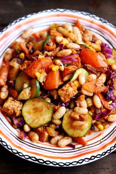 Tomato Veggie Stir Fry with Tempeh and Beans